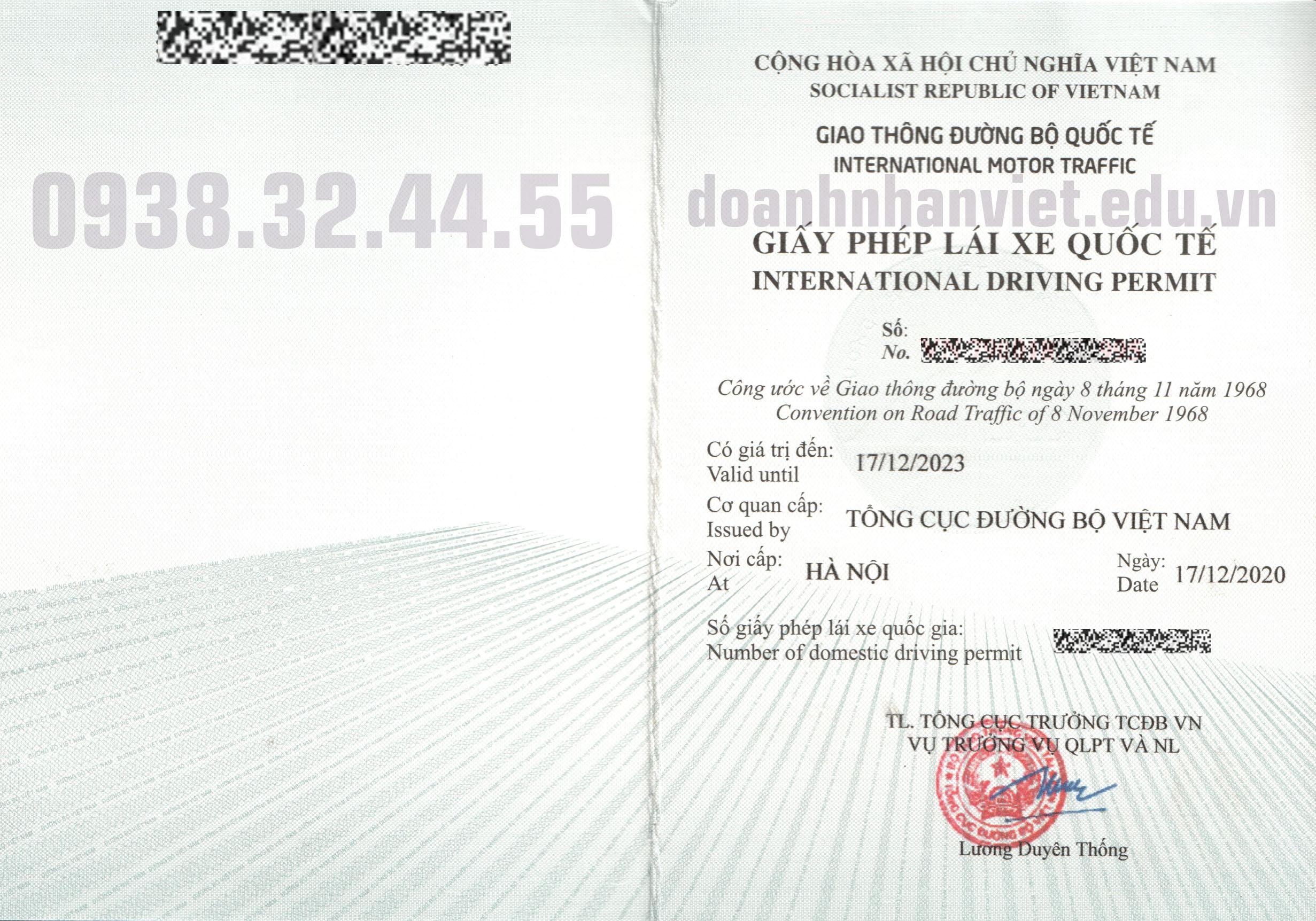 Bằng lái xe quốc tế Tổng Cục Đường Bộ