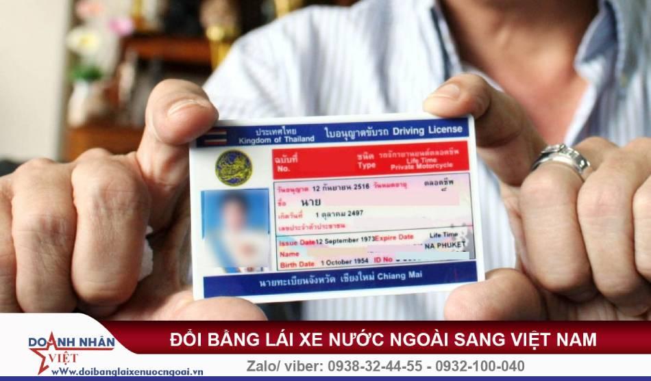 Đổi bằng lái xe Thái Lan sang Việt Nam
